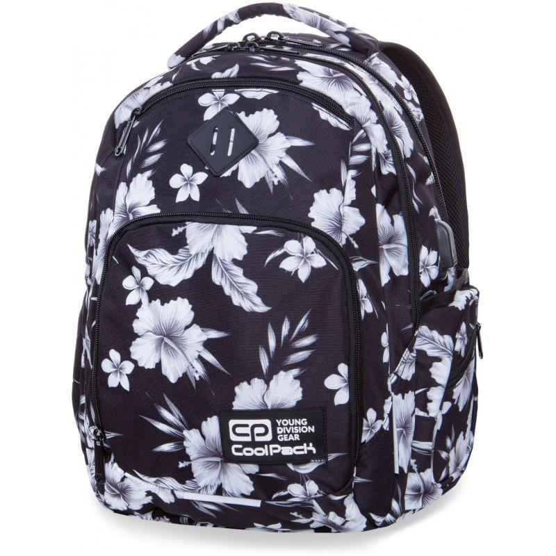 b5b74a16ea032 Plecak młodzieżowy COOLPACK CP BREAK WHITE HIBISCUS biały hibiskus kwiaty -  port USB