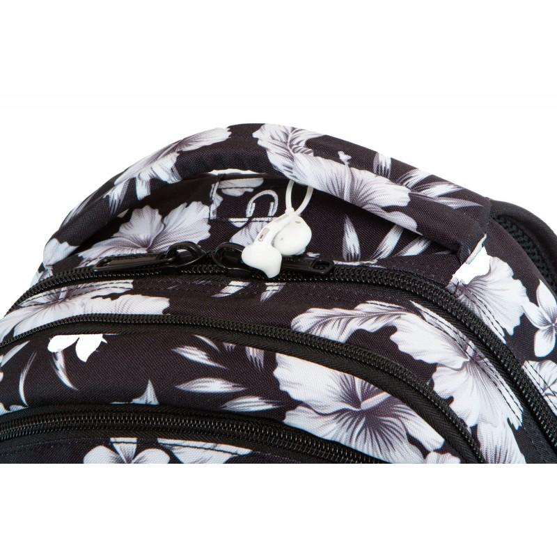 188afa89114f8 ... Czarny plecak szkolny kwiaty do liceum CoolPack White Hibiscus Break  port na słuchawki ...