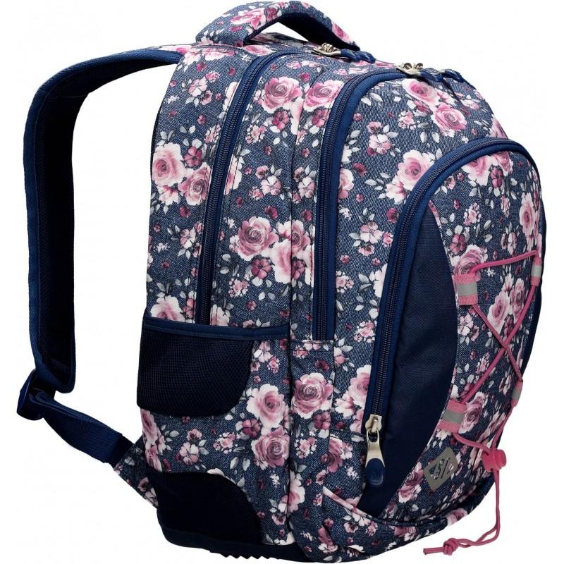 22a0b2a1fac3d Jeansowy plecak szkolny w róże kwiaty dwukomorowy ST.RIGHT Roses BP32