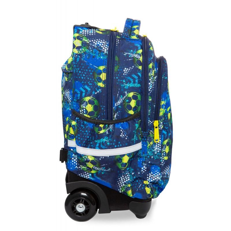 425495e69f95c ... Niebieski plecak na kółkach z piłką nożną dla chłopca CoolPack Junior  bok ...