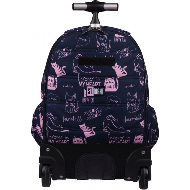 24ba2c1464aa1 ... Plecak szkolny na kółkach w kotki dla dziewczynki ST.RIGHT CATS TB-01  stelaż ...