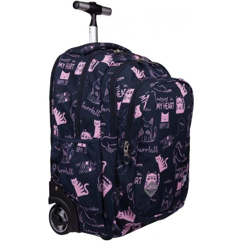 cb42c00383b31 Plecak szkolny na kółkach w kotki dla dziewczynki ST.RIGHT CATS TB-01