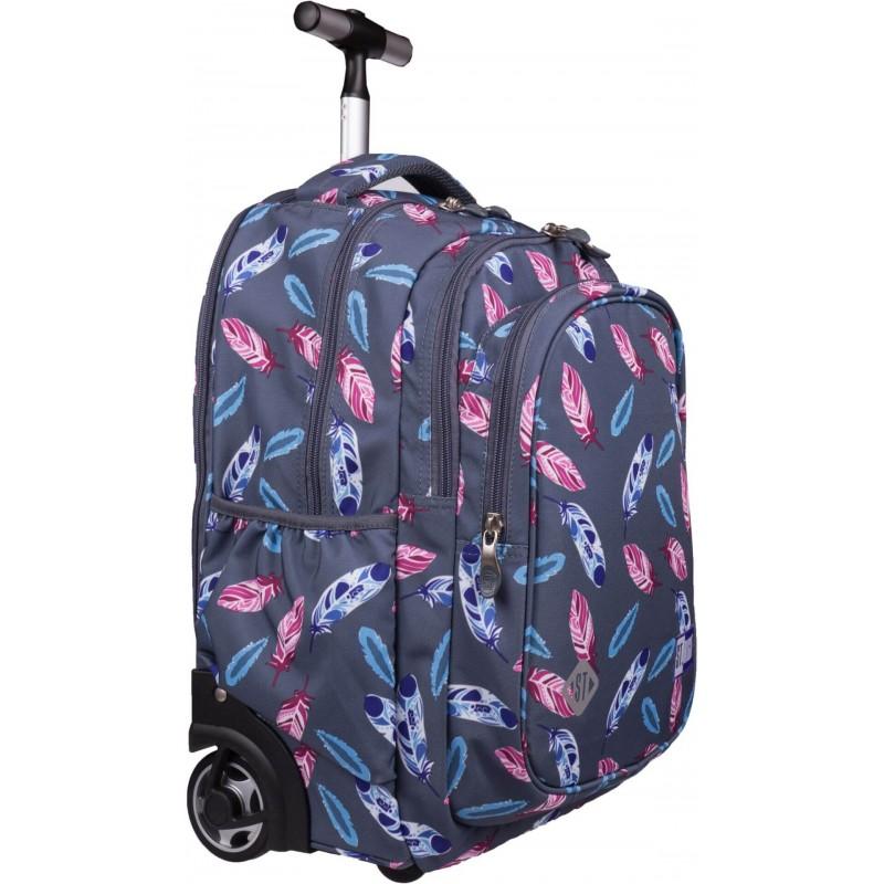 9c818e481 Plecak na kółkach w piórka dla dziewczyny ST.RIGHT INDIAN FEATHERS TB01