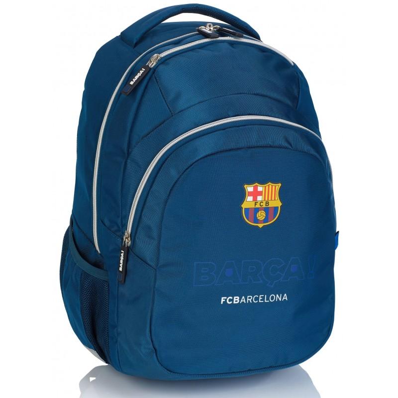aa4c1e380f1e2 Plecak szkolny młodzieżowy FC Barcelona FC-246 granatowy ze srebrnymi  zamkami