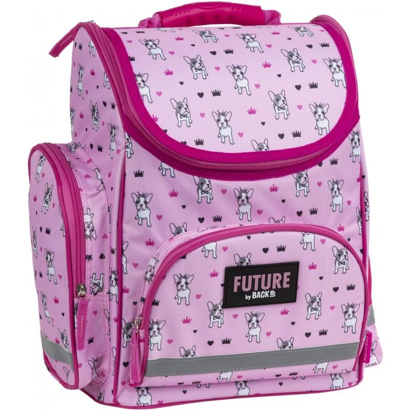 129217d96422f Różowy tornister z odblaskami szkolny z buldogami do 1 klasy Future By  BackUP