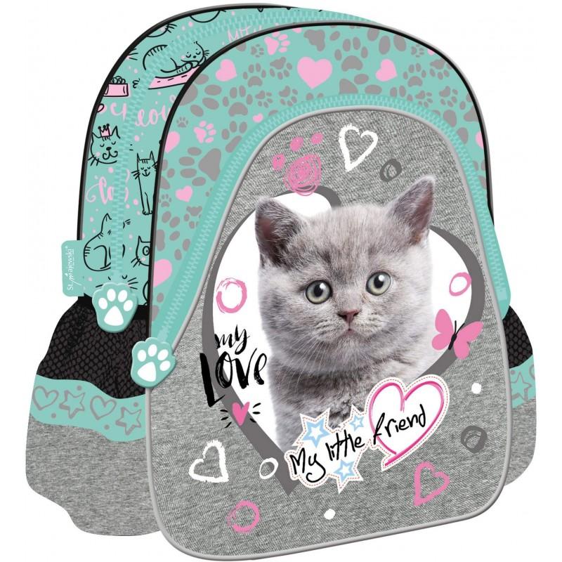 39dc5fb22efc3 Plecak dla dziecka do przedszkola MY LITTLE FRIEND miętowy z kotkiem w  serduszku