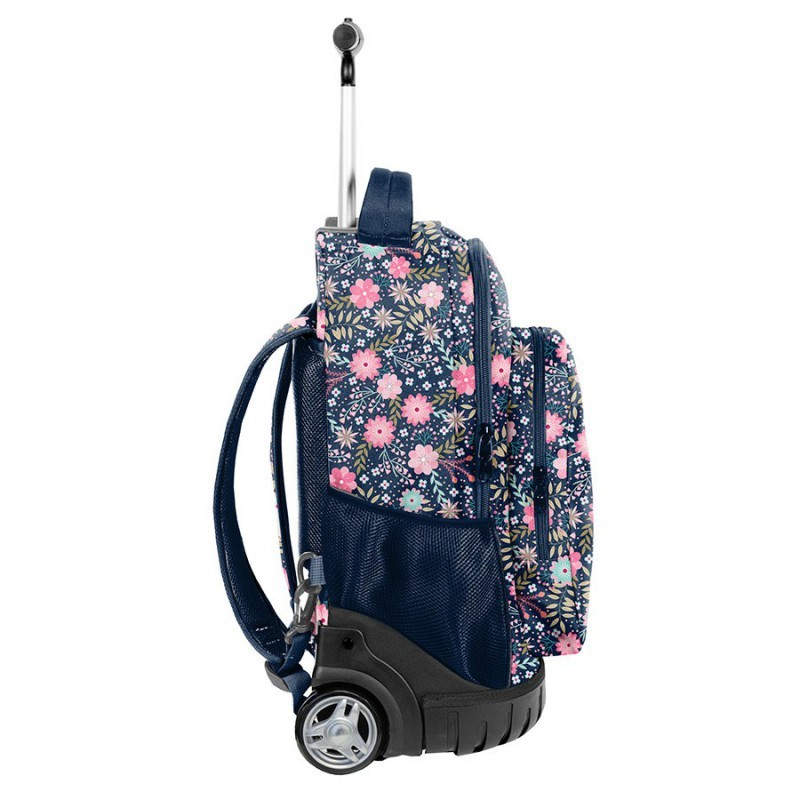 8e5717693f1e8 ... Plecak szkolny na kółkach z kieszonką na bidon w kwiatuszki dla  dziewczynki Paso