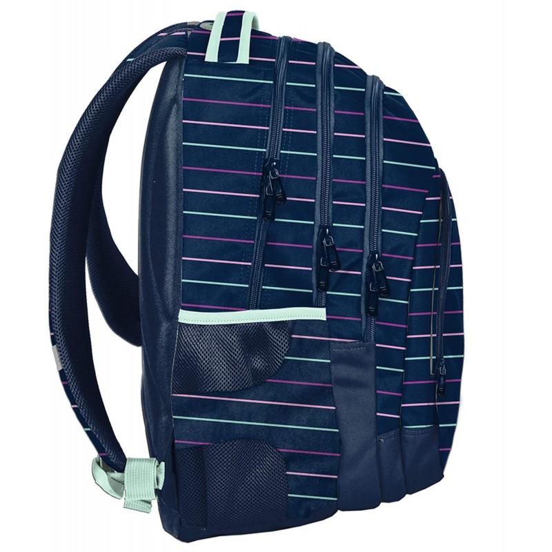 2b0dd03e11677 ... Granatowy trzykomorowy plecak szkolny młodzieżowy w paski Paso