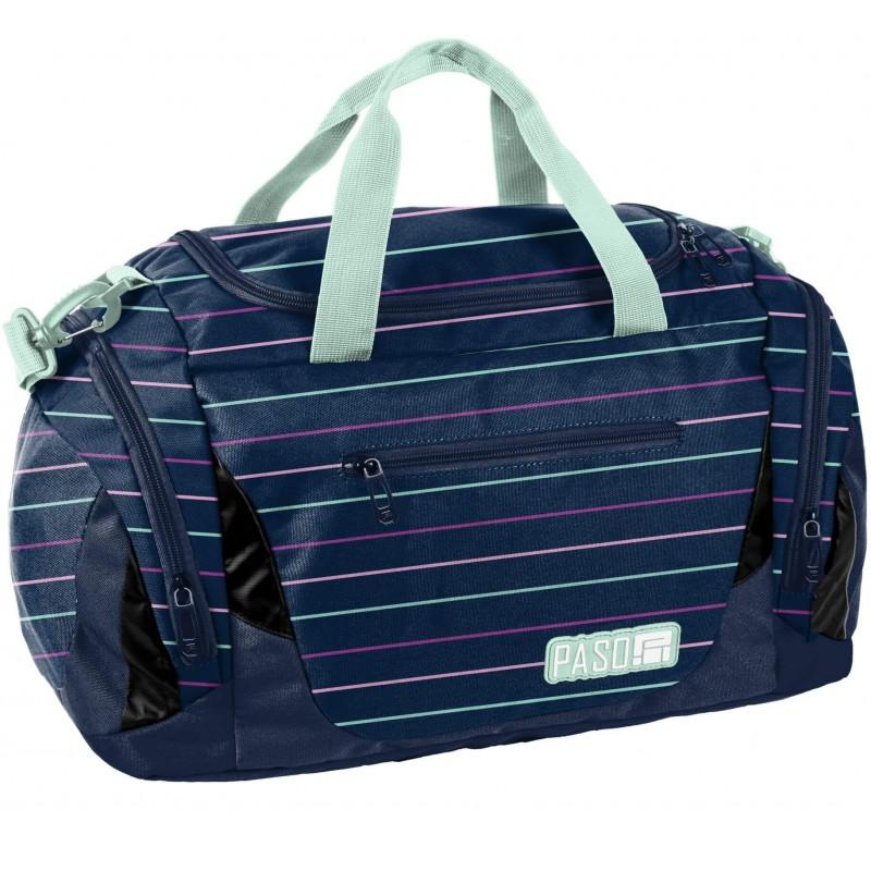 3b5bb0d94c604 Granatowa torba sportowa na basen w paski Paso dla młodzieży