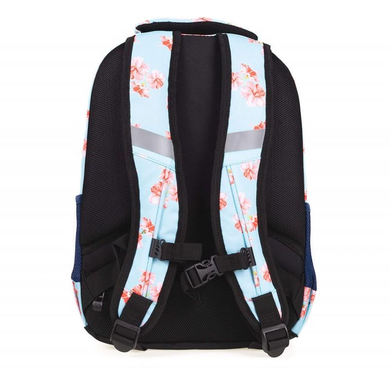 67994e23c9f36 Błękitny plecak szkolny z kotwicą w kwiaty i paski Strigo Nature Misty
