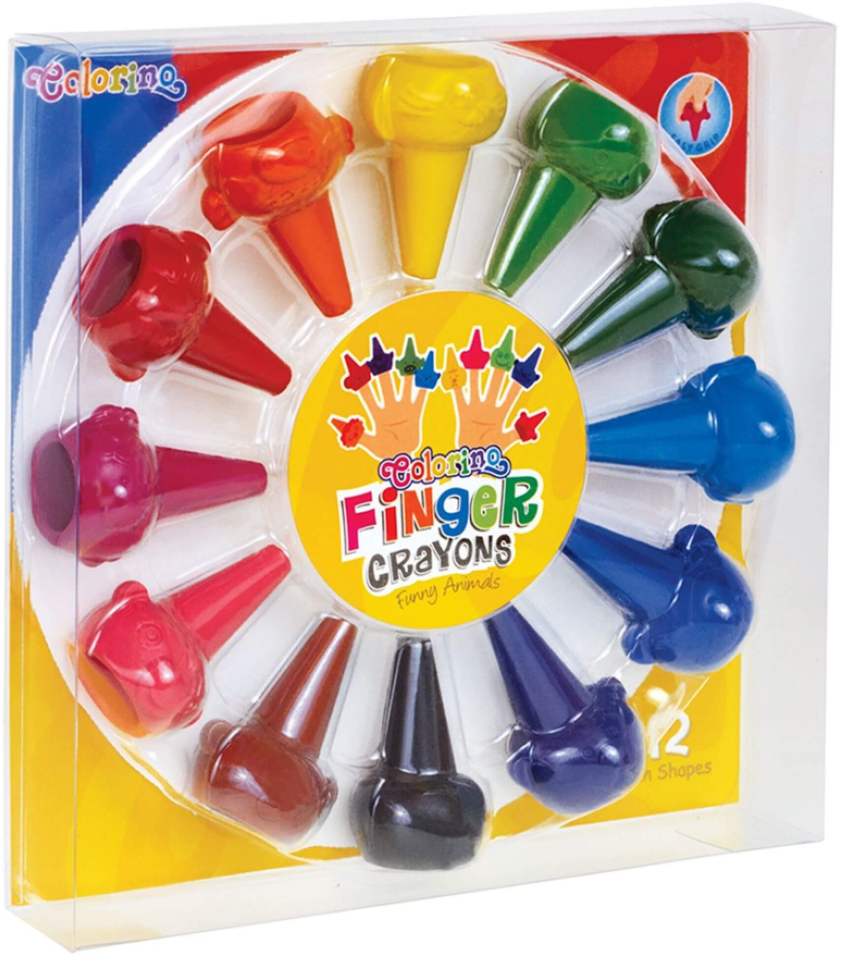 Kredki na palec świecowe zwierzątka dla dzieci 12 kolorów