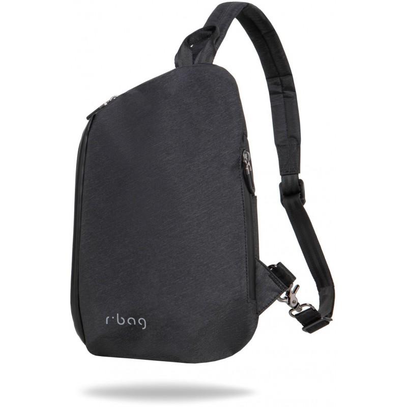 Plecak miejski mały na jedno ramię męski r bag Switch Black czarny z USB trójkatny
