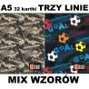 Zeszyt A5 ST.RIGHT 32 k. trzy linie MIX WZORÓW dla chłopców DINOSAURS / GOAL