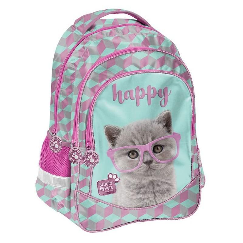 Plecak szkolny z kotkiem do klas 1 3 szkolny PASO Studio Pets różowy i turkusowy
