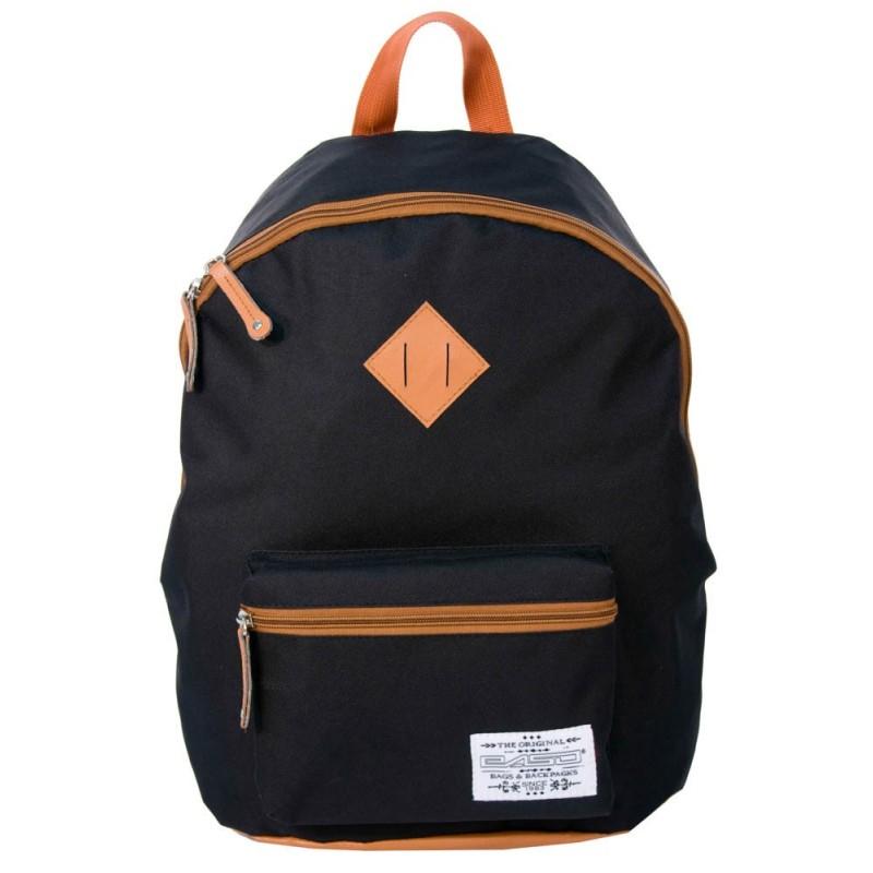 Plecak młodzieżowy vintage czarno-brązowy