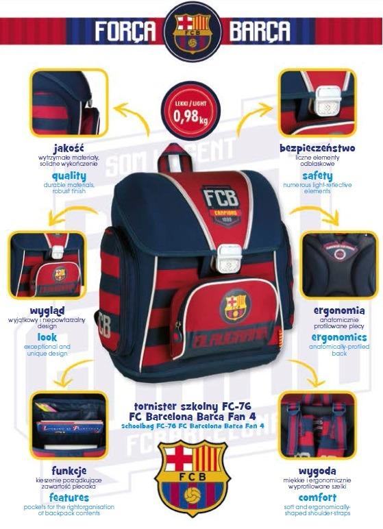 Tornister szkolny FC Barcelona ergonomiczny plecak do pierwszej klasy