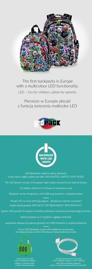 Innowacyjne świecące plecaki z diodami LED - 23 programy świecenia dla bezpieczeństwa dziecka na drodze.