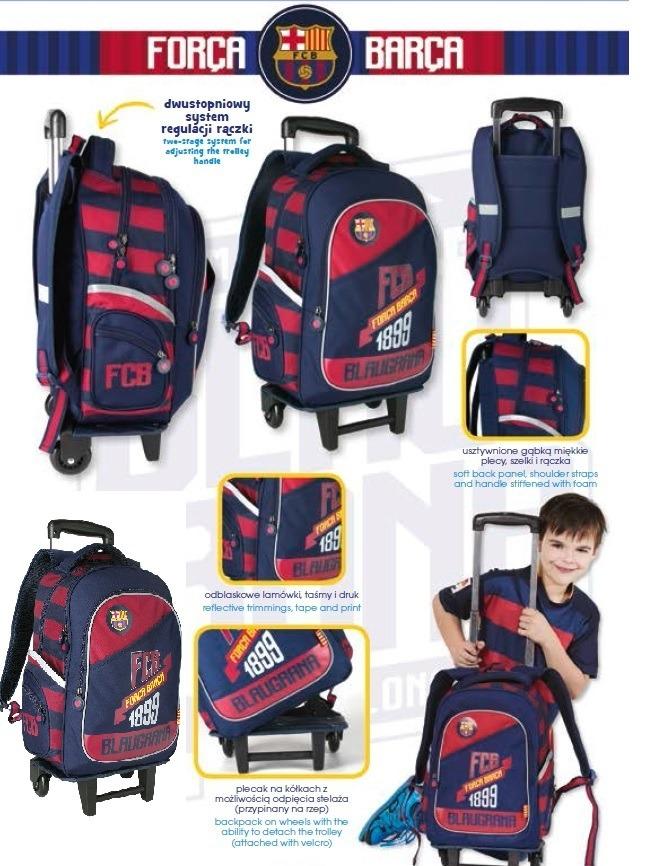 Plecak na kółkach FC Barcelona z odpinanym stelażem. Kupujesz plecak 2 w 1!