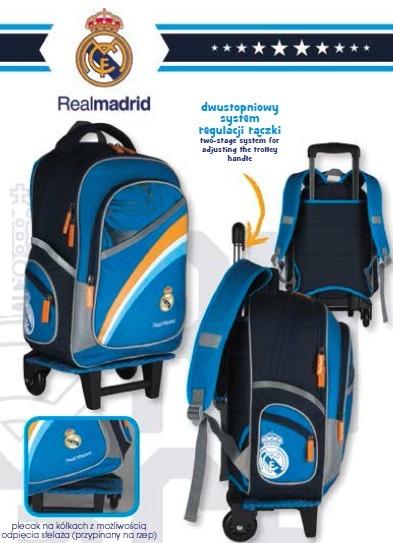 Plecak na kółkach Real Madryt z odpinanym stelażem. Kupujesz 2 w 1: plecak na kółkach lub tornister.