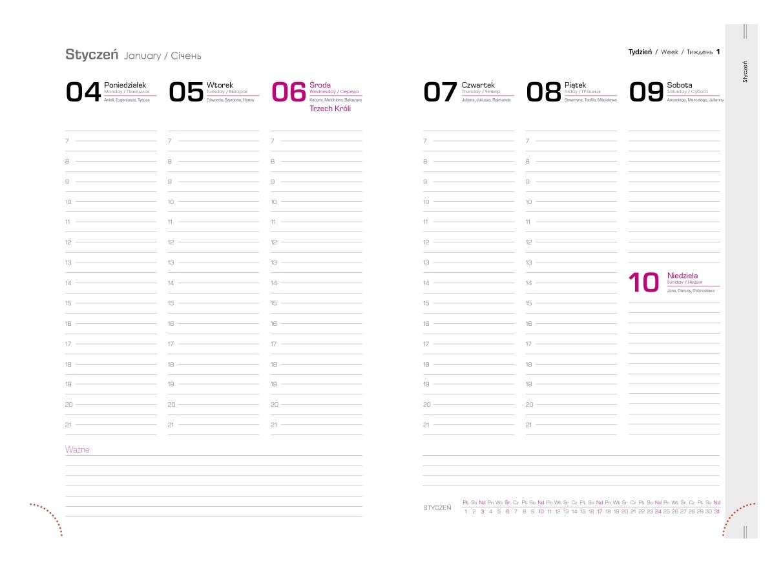 Kalendarz tygodniowy