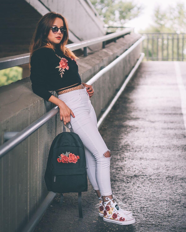 plecak roses haft miejski styl moda szkolna